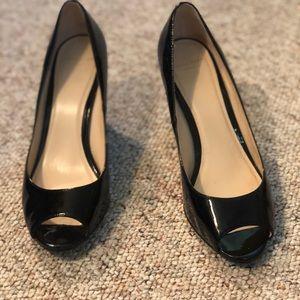Cole Haan patent peep toe wedge
